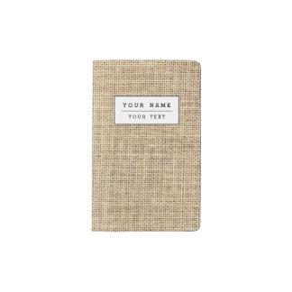 Rustic Country Vintage Burlap Pocket Moleskine Notebook