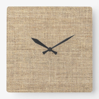 Rustic Country Vintage Burlap Square Wall Clock