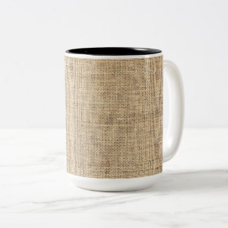 Rustic Country Vintage Burlap Two-Tone Coffee Mug