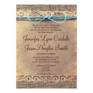 Rustic Country Vintage Burlap Wedding Invitations Custom Invites