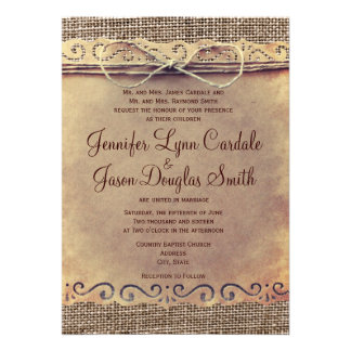 Rustic Country Vintage Burlap Wedding Invitations Cards