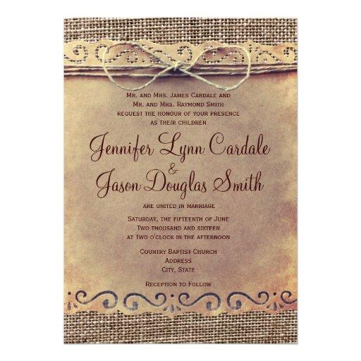 Rustic Country Vintage Burlap Wedding Invitations Cards