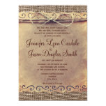 Rustic Country Vintage Burlap Wedding Invitations