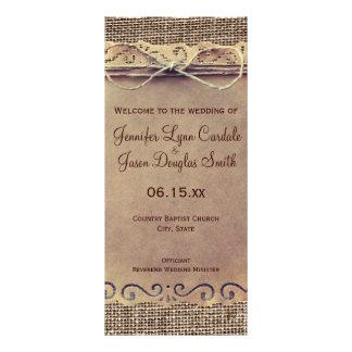 Rustic Country Vintage Burlap Wedding Program Customized Rack Card