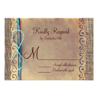 Rustic Country Vintage Burlap Wedding RSVP Cards