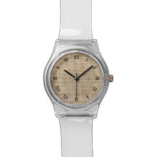 Rustic Country Vintage Burlap Wrist Watch