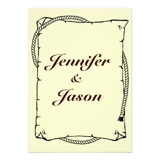 Rustic Country Wedding Invitations Western Rope