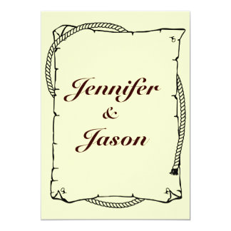 "Rustic Country Wedding Invitations Western Rope 5"" X 7"" Invitation Card"