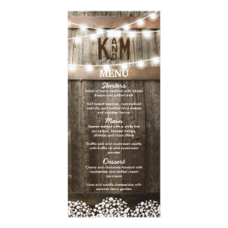 RUSTIC COUNTRY WEDDING MENU | STRING OF LIGHTS