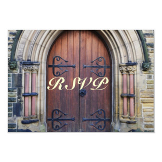 Rustic Country Wedding Old Wooden Door RSVP Card 9 Cm X 13 Cm Invitation Card