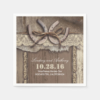 rustic country wedding paper napkins - horseshoes disposable napkin