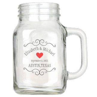 Rustic Country Wedding - Personalized Guest Favor Mason Jar