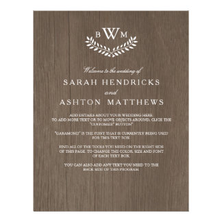 Rustic Country Wedding Program 21.5 Cm X 28 Cm Flyer