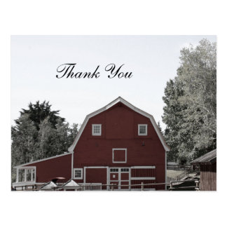 rustic country wedding red barn wedding thank you postcard