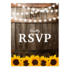Rustic Country Wedding RSVP | Sunflower Lights Postcard
