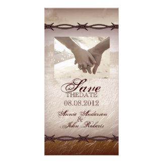 Rustic Country Wedding SaveTheDate Photocard Custom Photo Card