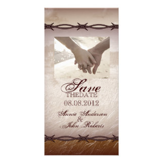 Rustic Country Wedding SaveTheDate Photocard Photo Greeting Card