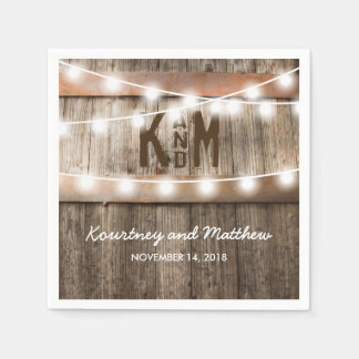 RUSTIC COUNTRY WEDDING | STRING OF LIGHTS DISPOSABLE SERVIETTE
