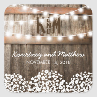 RUSTIC COUNTRY WEDDING   STRING OF LIGHTS SQUARE STICKER
