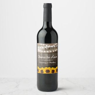 Rustic Country Wedding | Sunflower Cheers to Love Wine Label