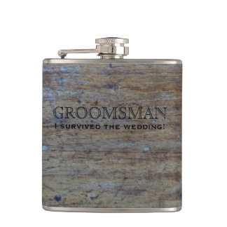 Rustic Country Wedding Wood   Funny Groomsman Hip Flask