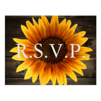 Rustic Country Wedding Wood & Sunflowers RSVP Postcard
