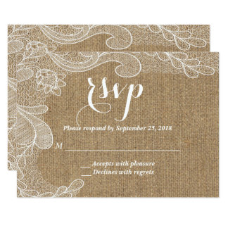 Rustic Country Western Burlap and Lace RSVP Card