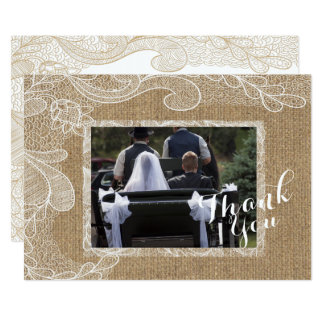 Rustic Country Western Burlap Lace Photo Thank You Card