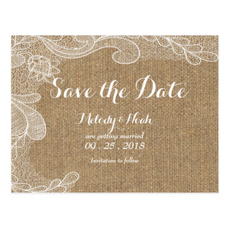 Rustic Country Western Burlap & Lace Save The Date Postcard