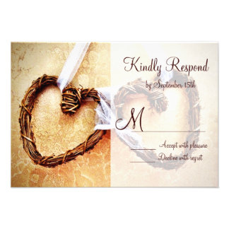 Rustic Country Western Hearts Wedding RSVP Cards