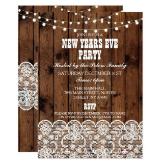 Rustic Country Western New Years Day Eve Invite