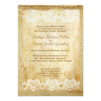 Rustic Country Western Sheer Lace/Frame Wedding Card