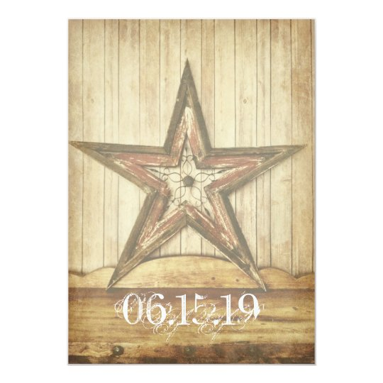 Rustic Country Western Wood Star Wedding Invites