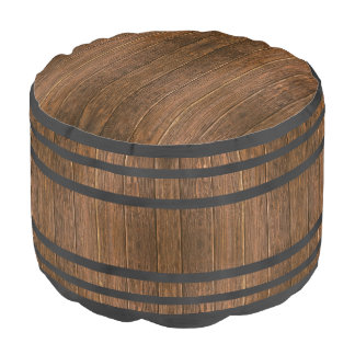 Rustic Country Western Wood Wine Barrel Pouf