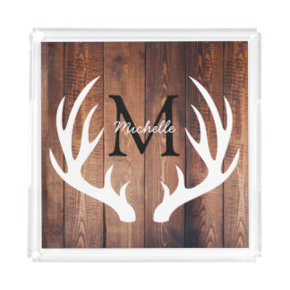 Rustic Country White Deer Antlers Barn Wood Acrylic Tray