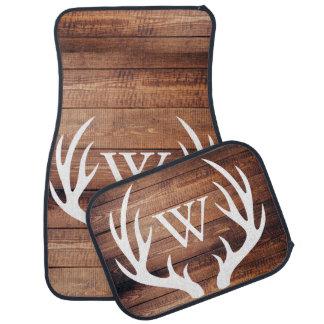 Rustic Country White Deer Antlers Barn Wood Car Mat