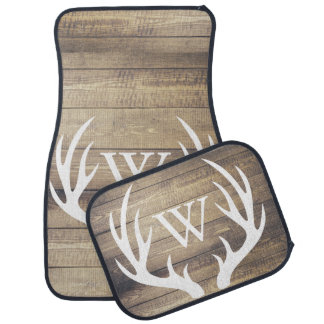 Rustic Country White Deer Antlers Barn Wood Floor Mat