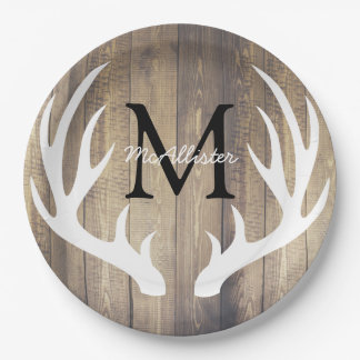 Rustic Country White Deer Antlers Light Barn Wood Paper Plate