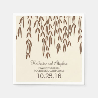 rustic country willow tree branches wedding paper napkins