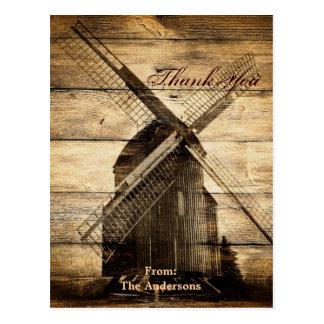 Rustic country windmill barn wedding thank you postcard