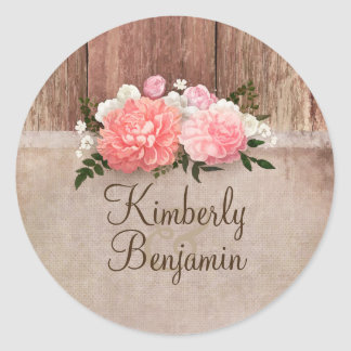 Rustic Country Wood and Burlap Floral Wedding Classic Round Sticker