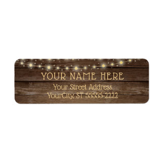 Rustic Country Wood and String Lights Return Address Label