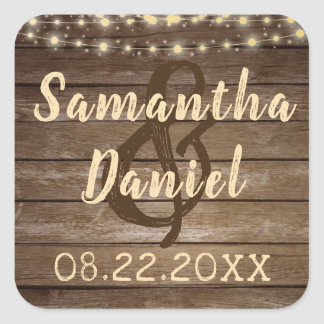 Rustic Country Wood and String Lights Wedding Square Sticker