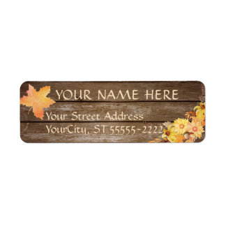 Rustic Country Wood and Watercolor Autumn Flowers Return Address Label