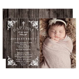 Rustic Country Wood Baby Girl Photo Baptism 13 Cm X 18 Cm Invitation Card