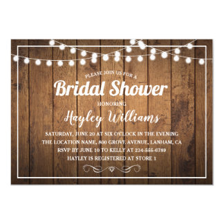 Rustic Country Wood Bridal Shower Invitations