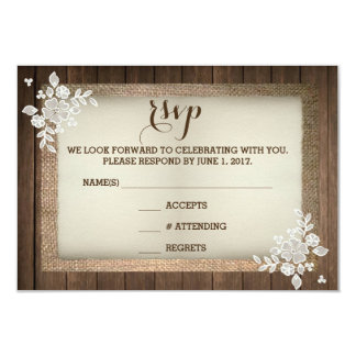 Rustic Country Wood Burlap Lace Wedding RSVP Card