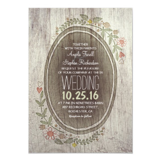 rustic country wood flowers wedding invitation