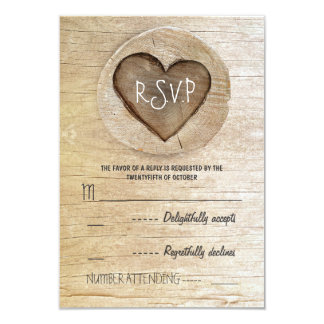Rustic country wood heart wedding RSVP cards 9 Cm X 13 Cm Invitation Card