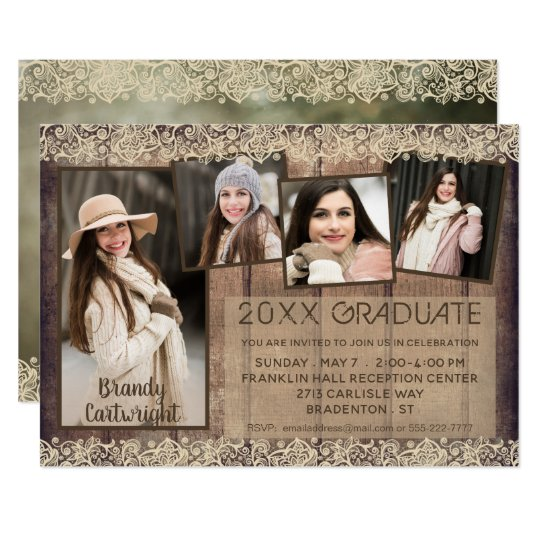 Rustic Country Wood & Lace | GRADUATE | 5-Photo Card